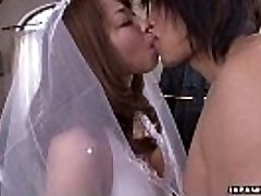 During her wedding she has to inhale on a firm wiener