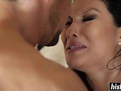 Asian beauty enjoys railing his cock