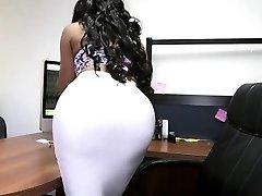 Bouncy ass dark-hued secretary and white cock