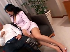 Whorish Asian secretary drains her puss right in front of her manager