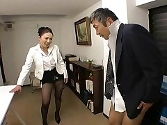 Japanese Boss fucks her worker so hard at office - RTS