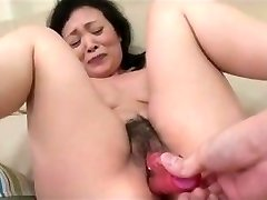 55yr old Granny Kayoe Ozawa Drizzles and Creamed (Uncensored)