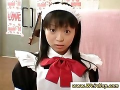 Smallish Japanese maid gets penalized for being bad while all watch