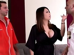 Good-sized titted asian housewife loves hard dual penetration