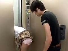 Japanese Schoolgirl Trapped on Elevator 3