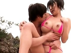 Hefty tit Japanese screwed at the beach