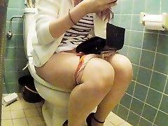 Asian junior woman restroom pt 2