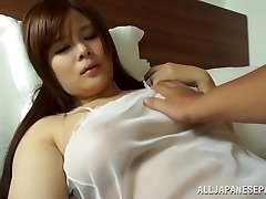 Japanese AV Model is a hot cougar in see-through lingerie