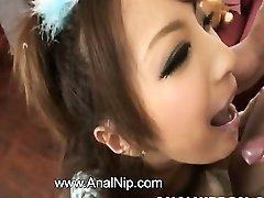 Asian schoolgirl smoking small salami