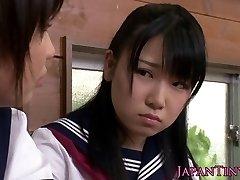 Lil' CFNM Japanese schoolgirl love sharing cock