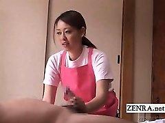 Ar subtitriem CFNM Japāņu aprūpētājs vecu vīrieti handjob