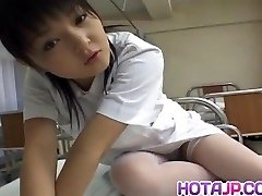 Miku Hoshino nurse sucks dildo she tears up with