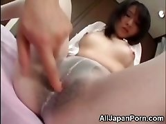 Asian in White Pantyhose!