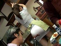 Mature plumbing threesome with Mirei Kayama in a mini microskirt