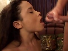 Diminutive asian in red lingerie gives a humid and wild blowjob