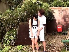 Lil' chinese thighfucked outdoors