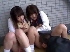 Best Japanese damsel Yua Aihara, Makoto Takeuchi, Iku Sakuragi in Hottest Cunnilingus, College/Gakuseifuku JAV clip