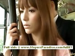 Miho Maeshima Japanese girl gets a cum flow on her glasses
