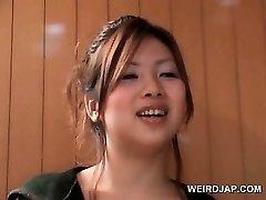 Asian teen hotties flashing marvelous legs in mini skirts outdoor