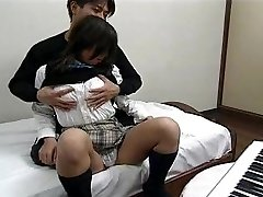 Asian - In school uniform, porking and swallowing