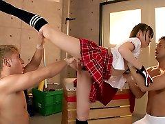 Limber girl Fucks Two Fellows In The Gymnasium