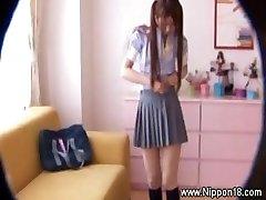 Chinese schoolgirl gets hot for lucky voyeur