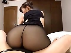 Japanese mature dark-hued tights sex