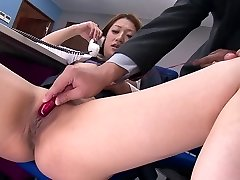Horny folks shag hot office girl with vibrators at work