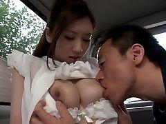 Exotic Japanese chick Arisa Aizawa in Ultra-kinky big tits, car JAV clip