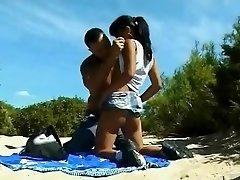 Bare Beach - Little Bra-stuffers Asian Analized & CIM Facial