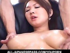 Busty Asian gal feels eager to poke