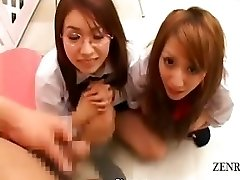 Subtitled CFNM POV Japanese college girls jizz-shotgun checkup