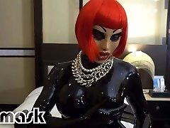 Latex climaxes RUBBER Doll vibrator dildo pussy