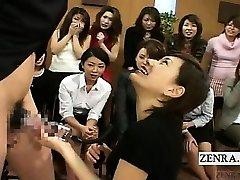 Subtitled CFNM Japan Milf TV spunk-pump pump demonstration