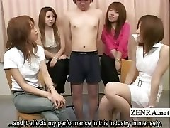 Subtitled Japanese CFNM lil knob examination party