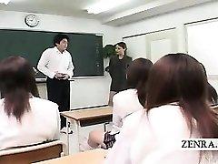 Legendado CFNM Japonês sala de aula masturbação mostrar