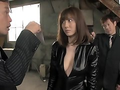 Horny Japanese chick in Amazing 3some, Latex JAV pinch