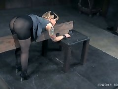 Handsome tattooed bitch in nylons is smashed in the dungeon