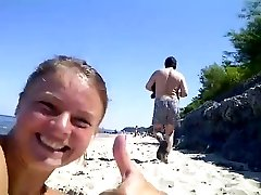 pervert jerking in beach woman recording and laughing
