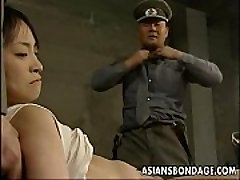 Japanese chick held down and slammed with fat dicks