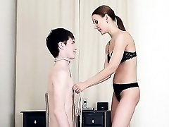 Domina teaches submissive teenage fellow a lesson by