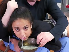 Hot black obedient girl punished with a bowl of cum