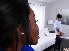 Black MILF catches Him watching Porn