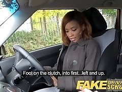 Fake Driving College young black learner enjoys creampie for