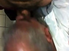 Old man get fuck in toilet nice Mouth cum