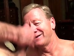 Senior Faggot Cocksucker Gets Cum Facial and Eats Cum