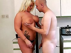 Adorable blonde BBW got hired as a housekeeper and nailed boss right away