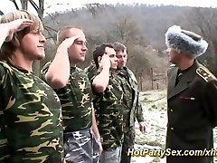 Woman gets soldiers cum