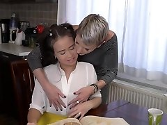 Filthy mom licks and romps sweet teen daughter