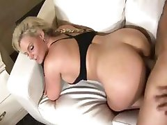 Delicious trick with an entrancing lucifer's cradle, Phoe Marie, makes love with her man on the couch